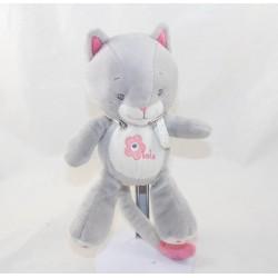 Doudou Lola cat ARTHUR AND LOLA BEBISOL pink grey 20 cm