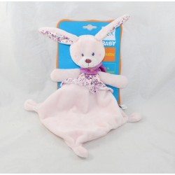 Doudou flat rabbit TEX pink diamond flowered Carrefour