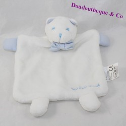 Doudou flat bear JACADI white blue bow tie 20 cm