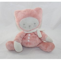 Doudou flat cat TEX BABY orange pink salmon Carrefour 32 cm