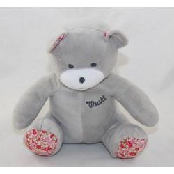 Mustela's grey Doudou bear floral fabric 20 cm
