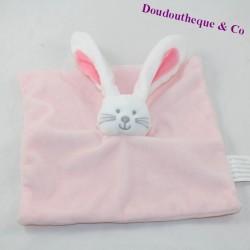 Doudou flat rabbit KIMBALOO pink square 20 cm