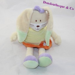 Bunny peluche MOTS D'ENFANTS orange yellow shirt 27 cm