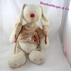 Large plush rabbit NICOTOY Bastien burgundy brown jacket 48 cm