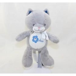 Doudou Arthur cat ARTHUR AND LOLA BEBISOL blue gray 20 cm