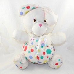 Puffalump-style vintage rabbit in white parachute canvas multicolor polka dots