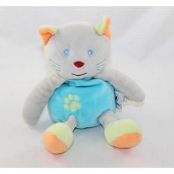 Doudou cat U ALL PETITS blue grey green orange System U 18 cm