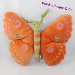 Doudou semi-flat butterfly MARESE orange green 22 cm