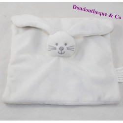 Doudou flat rabbit KIMBALOO La Halle square white 20 cm
