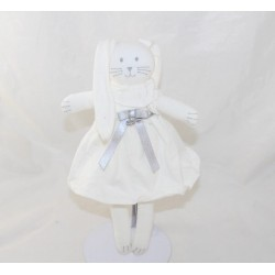 Doudou rabbit PETIT BATEAU white dress gray silver 25 cm