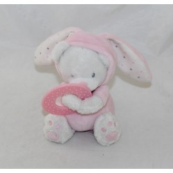 Doudou bear MAX - SAX disguised as pink rabbit ring teething hood 15 cm