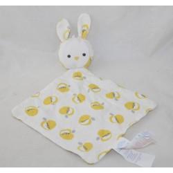 Doudou flat rabbit OBAIBI apple yellow white diamond fabric 36 cm