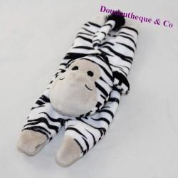 Flat zebra doudou elongated on black white belly stripes 28 cm