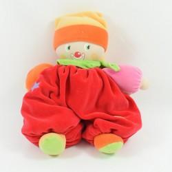 Leprechaun Doudou COROLLA pink scarf doll striped flower 25 cm