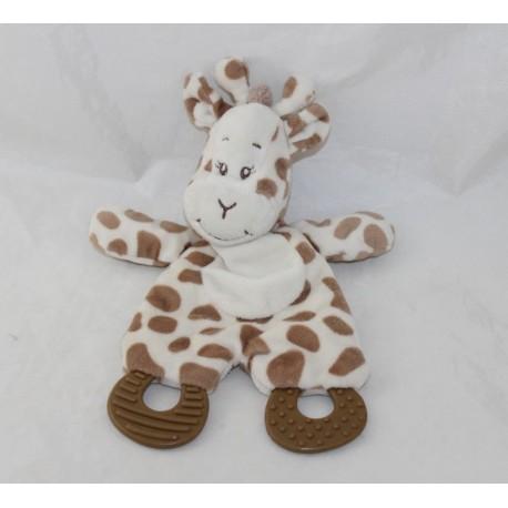 Doudou flat giraffe ZDT ACTION brown beige teething ring 26 cm