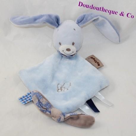 Doudou flat rabbit NATTOU Alex - Bibou blue diamond 27 cm