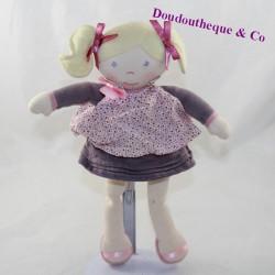 Doudou doll rag COROLLE blonde girl purple plum dress 30 cm
