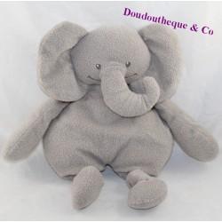 Doudou semi flat elephant PREMAMAN gray paper noise 33 cm