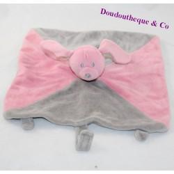Doudou flat rabbit BABOU pink grey 27 cm