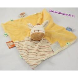 Zimbo NOUKIE'S yellow brown puppet flat doudou 28 cm