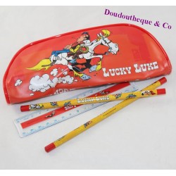 Lucky Luke red pencils and ruler kit and accessories