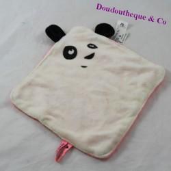 Doudou flat panda CARREFOUR Small pink white panda 26 cm