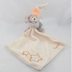 Doudou handkerchief dog BABY NAT' Luminescent orange star BN746