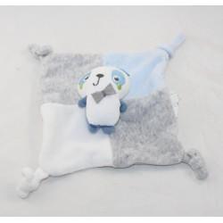 Doudou flat panda SIPLEC blue grey crown 20 cm