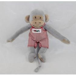 Skink monkey Popi NOUNOURS red striped overalls Ajena 12 cm