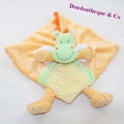 Doudou flat dragon NICOTOY green orange 21 cm