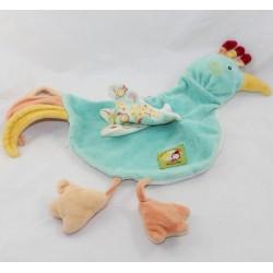 Doudou flat bird chicken MOULIN ROTY Balthazar and Valentine green 39 cm