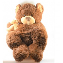 Big plush XXL bear MAX - SAX with its beige brown baby Carrefour