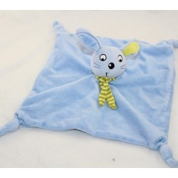 Doudou flat rabbit BLUE rabbit striped green scarf 29 cm