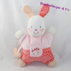 Doudou semi-flat rabbit KIABI pink heart peas 26 cm