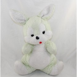 Teddy rabbit NOUNOURS vintage white green tongue pulled 32 cm