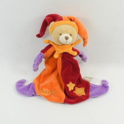 Doudou flat Bear BABY NAT' harlequin orange red 26 cm