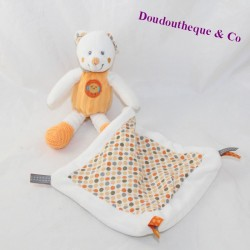 Doudou bear handkerchief NICOTOY Little Hug orange pea bird 20 cm
