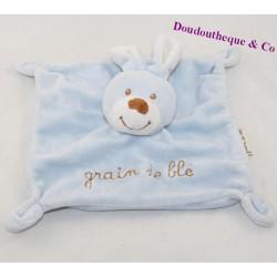 Doudou flat rabbit GRAIN OF BLUE square 19 cm