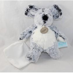 Doudou mouse BABY NAT' Les Flocons mottled white white handkerchief BN052