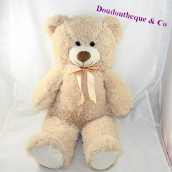 Large teddy bear MAX - SAX beige satin knot 60 cm