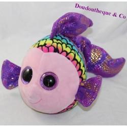 TY fish cubs bright purple eyes rainbow 23 cm