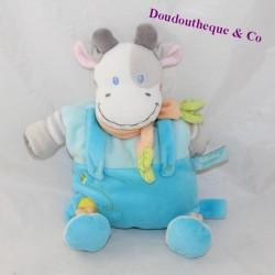 Doudou semi flat cow BABY BLUE scarf 30 cm