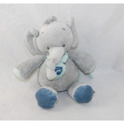 Doudou musical Jack elephant NATTOU Jack Jules and Nestor turquoise blue gray note 20 cm