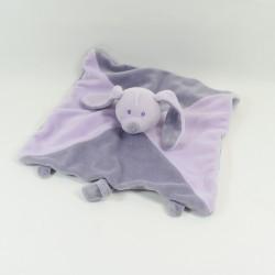 Doudou flat rabbit NOVATEX purple square grey attaches nipple