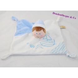 Doudou flat boy BABY LUNA Babyluna blue white boat 22 cm