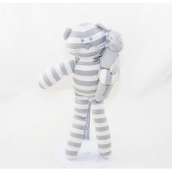 Doudou cat BOUT'CHOU Monoprix striped white grey with baby 30 cm