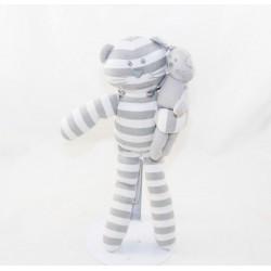 Doudou cat BOUT'CHOU Monoprix striped white grey with baby 30 cm