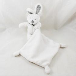 Doudou handkerchief rabbit VERTBAUDET white grey bandana stars 35 cm