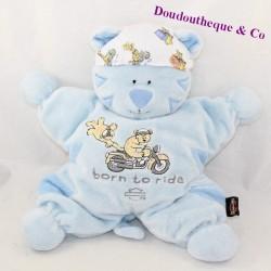 Doudou semi flat tiger HARLEY DAVIDSON Born to ride blue bandana 29 cm
