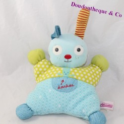 Doudou semi-flat rabbit POMMETTE striped ear 25 cm
